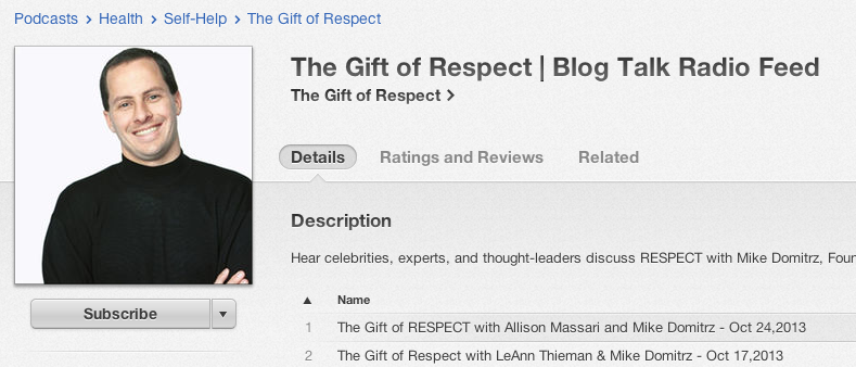 """Gift of RESPECT"" on iTunes"